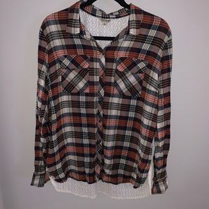 Lucky Brand Plaid and Woven Button Down
